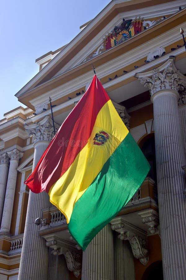 Vlag van Bolivië - La Paz - Bolivië stock afbeelding