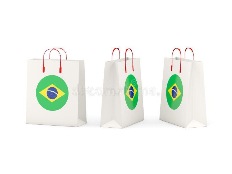 Vlag van Brazilië op het winkelen zakken stock illustratie
