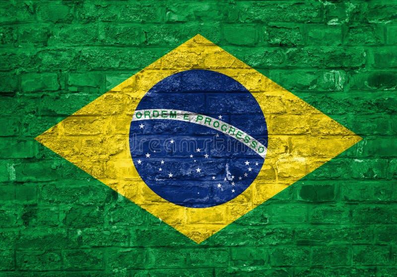 Vlag van Brazilië over een oude bakstenen muurachtergrond, oppervlakte stock illustratie