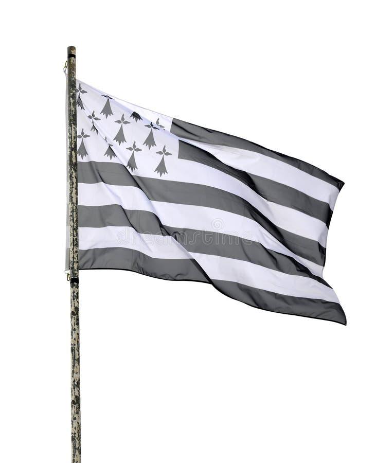 Vlag van Bretagne op de mast stock foto