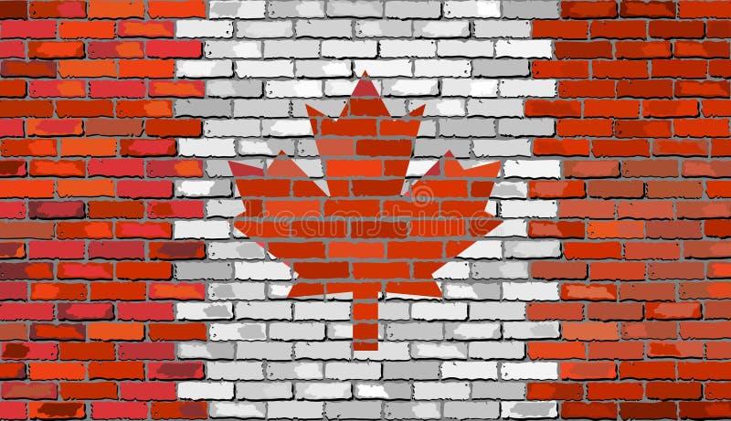 Vlag van Canada op een bakstenen muur vector illustratie