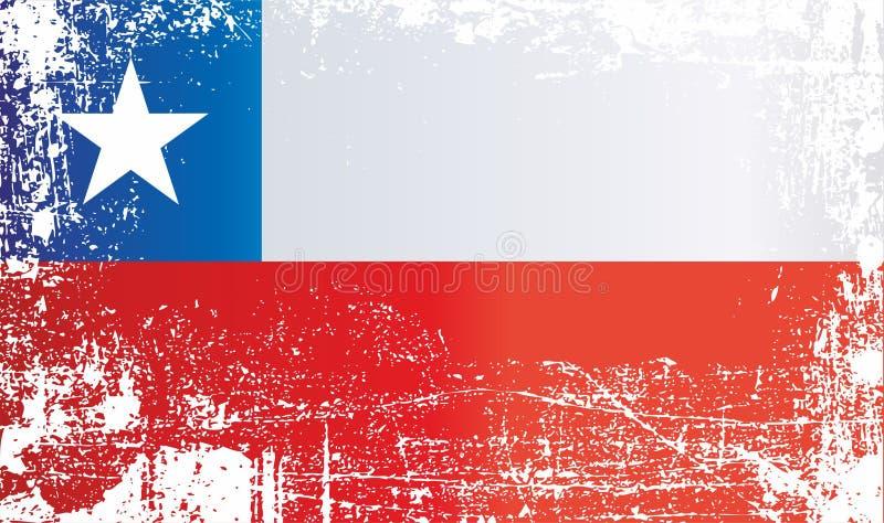 Vlag van Chili Gerimpelde vuile vlekken stock illustratie