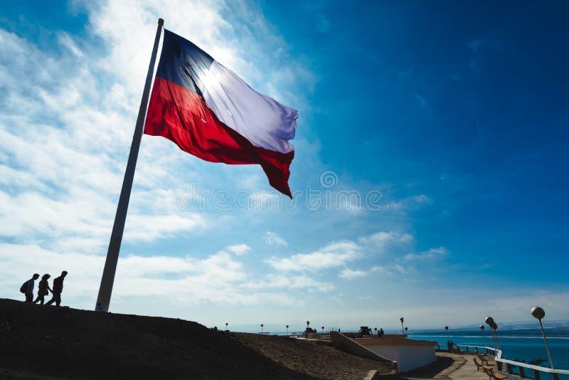 Vlag van Chili in Morro DE Arica stock foto