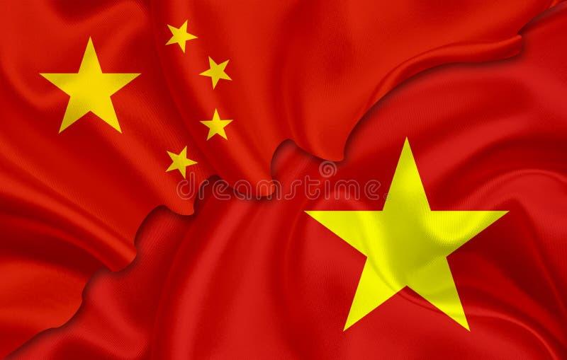 Vlag van China en vlag van Vietnam stock illustratie
