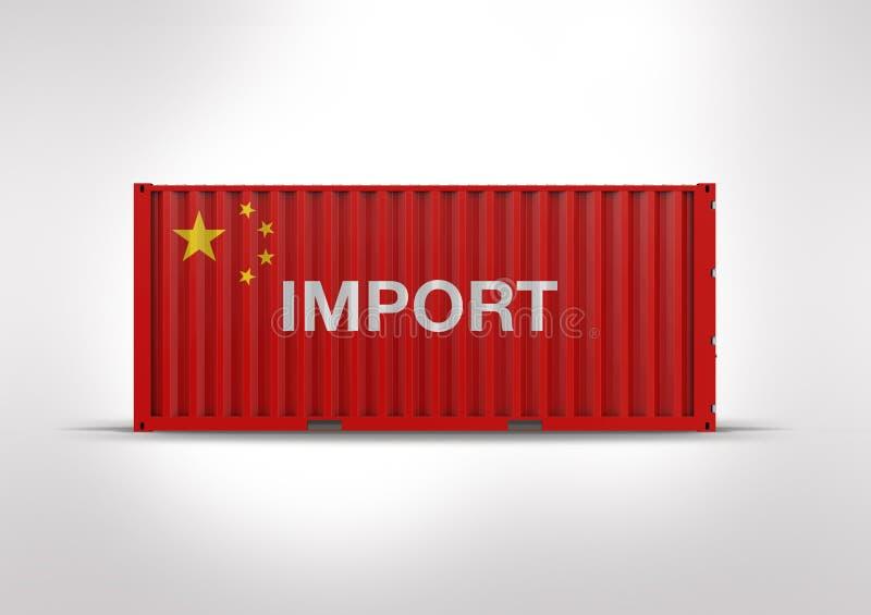 Vlag van China, in het 3D teruggeven, container stock foto