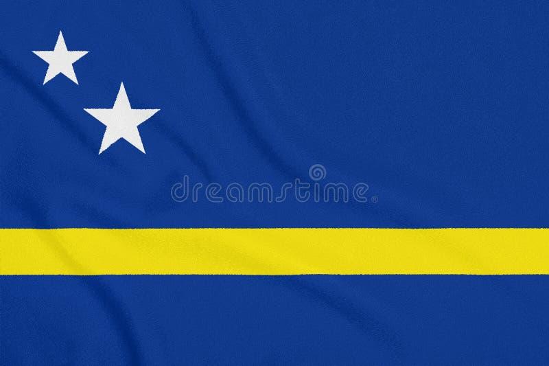 Vlag van Curacao op geweven stof Patriottisch symbool stock afbeelding