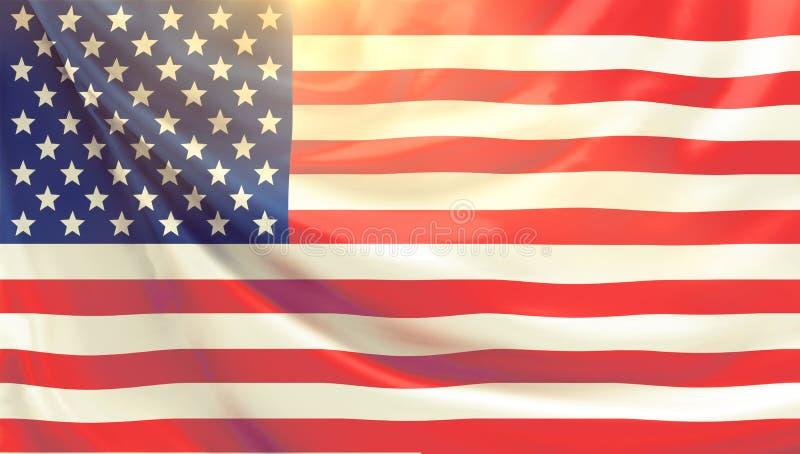 Vlag van 3d de Verenigde Staten van Amerika vector illustratie