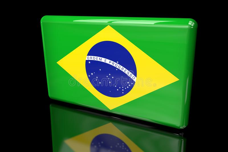 Vlag van 3D volumetrisch van Brazilië stock illustratie