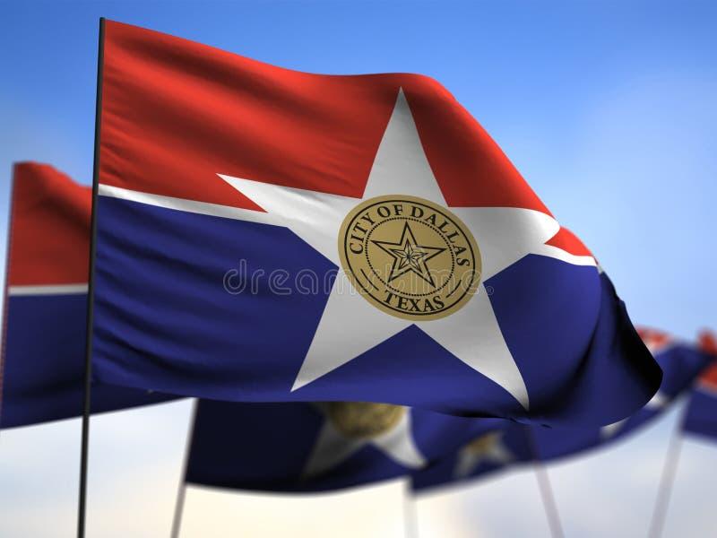 Vlag van de 3D stad van Dallas royalty-vrije illustratie