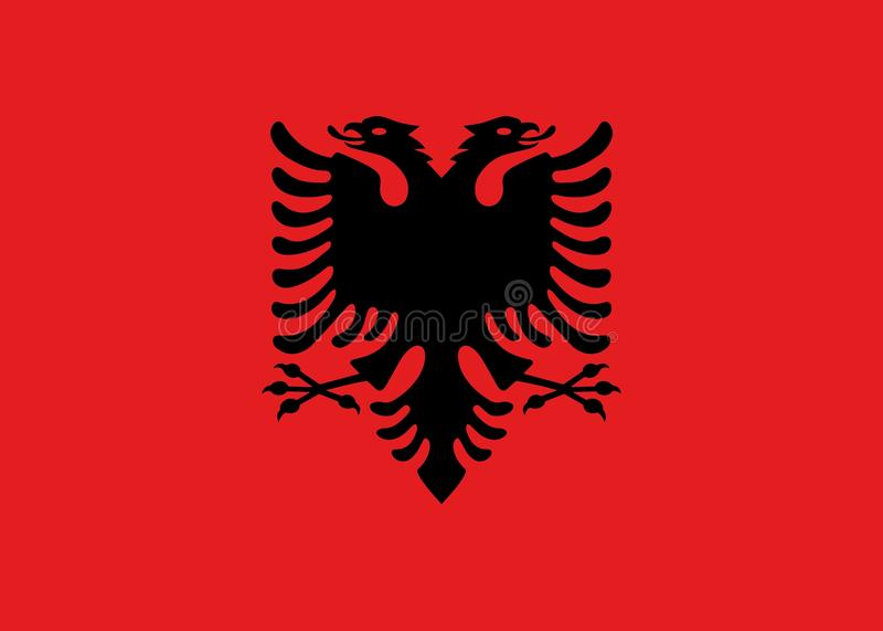 Vlag van de officiële kleuren van Albanië en aandelen, vectorbeeld royalty-vrije illustratie
