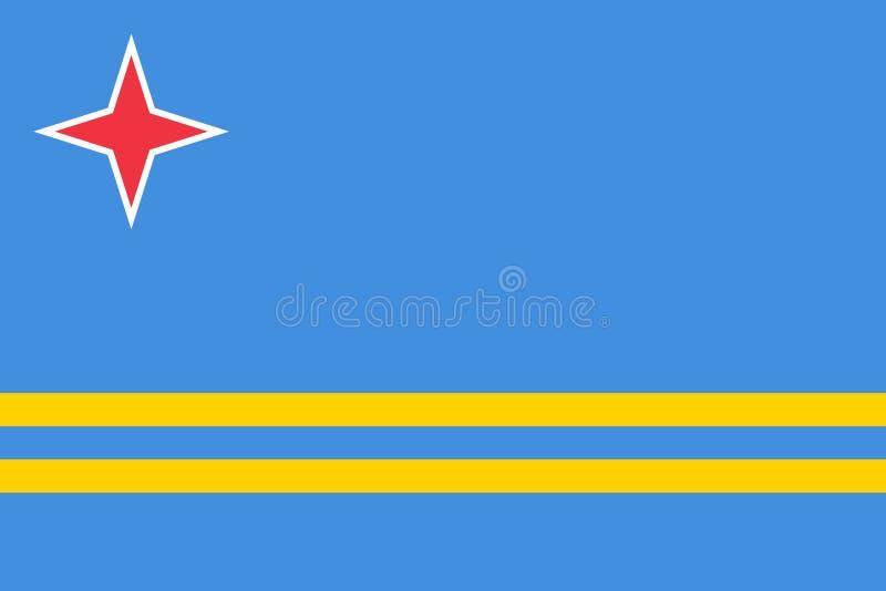 Vlag van de officiële kleuren van Aruba en aandelen, vectorbeeld vector illustratie