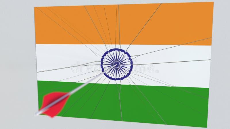 Vlag van de plaat die van INDIA door boogschietenpijl worden geraakt Het conceptuele 3d teruggeven vector illustratie