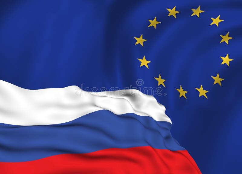 Vlag van de Russische Federatie tegen de achtergrond van de Europese Unie vlag, het conflict van sancties en agressie van Russ royalty-vrije stock foto's