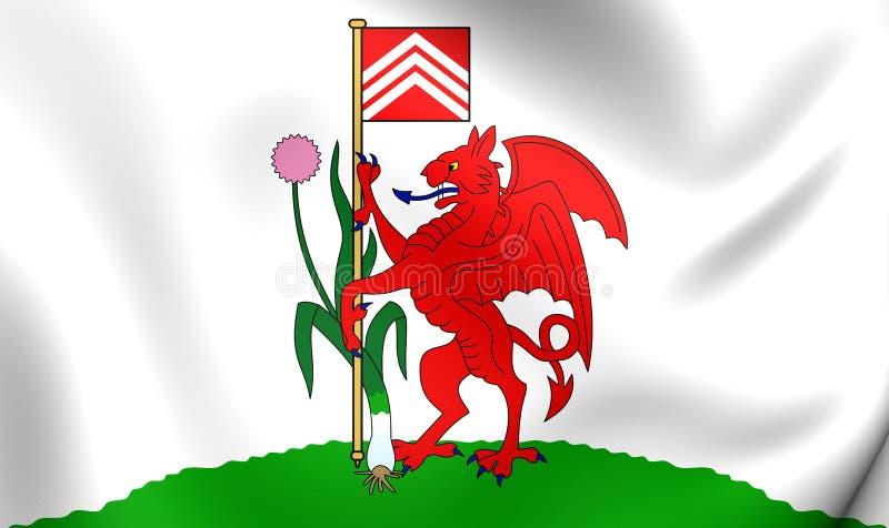 Vlag van de Stad van Cardiff, Wales stock illustratie