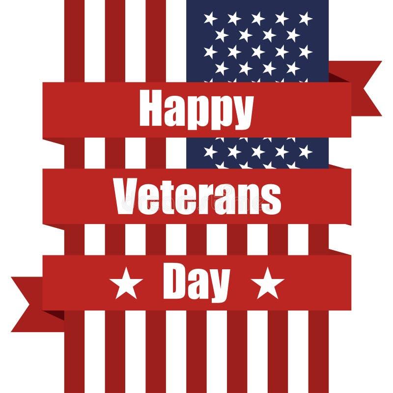 Vlag van de V.S. aan Veteranendag met lint Vector illustratie royalty-vrije illustratie