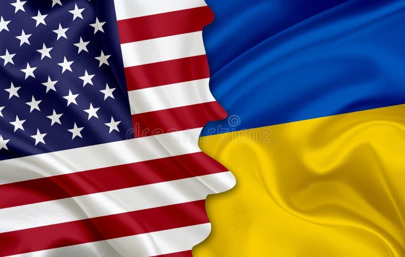 Vlag van de V.S. en vlag van de Oekraïne stock foto