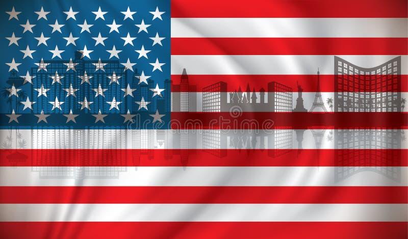 Vlag van de V.S. met de horizon van Las Vegas stock illustratie