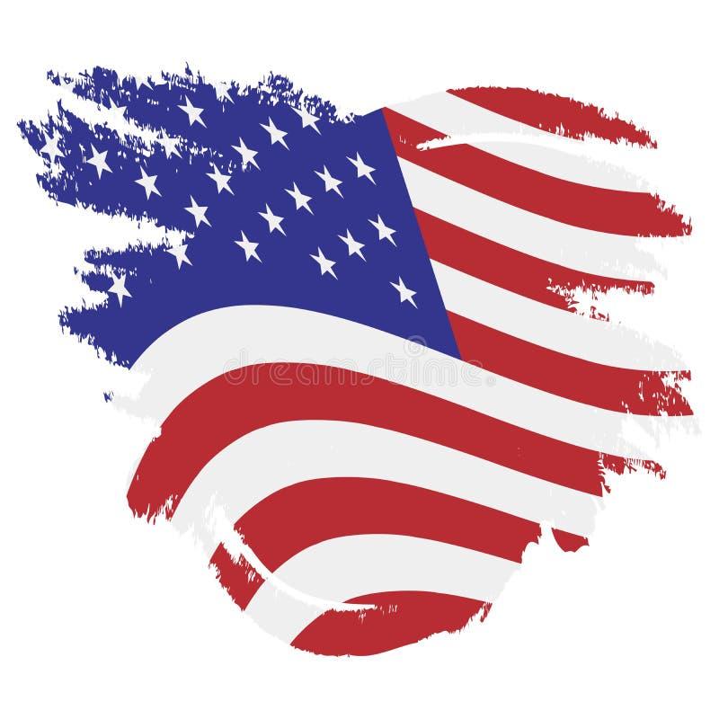 Vlag van de V.S., de Verenigde Staten van Amerika Vectorillustratie grunge stijl royalty-vrije illustratie