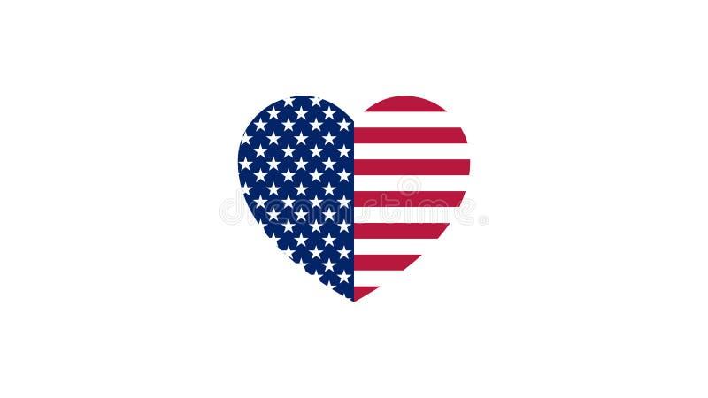Vlag van de V.S. in de vorm van een hart stock illustratie