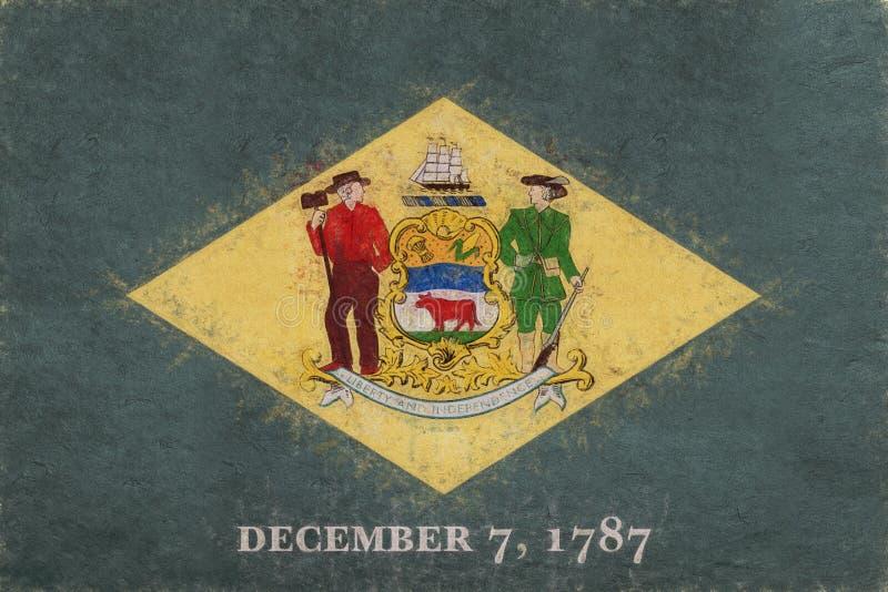 Vlag van Delaware Grunge royalty-vrije illustratie