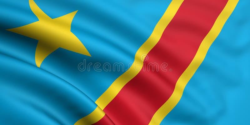 Vlag van Democratische Republiek de Kongo vector illustratie