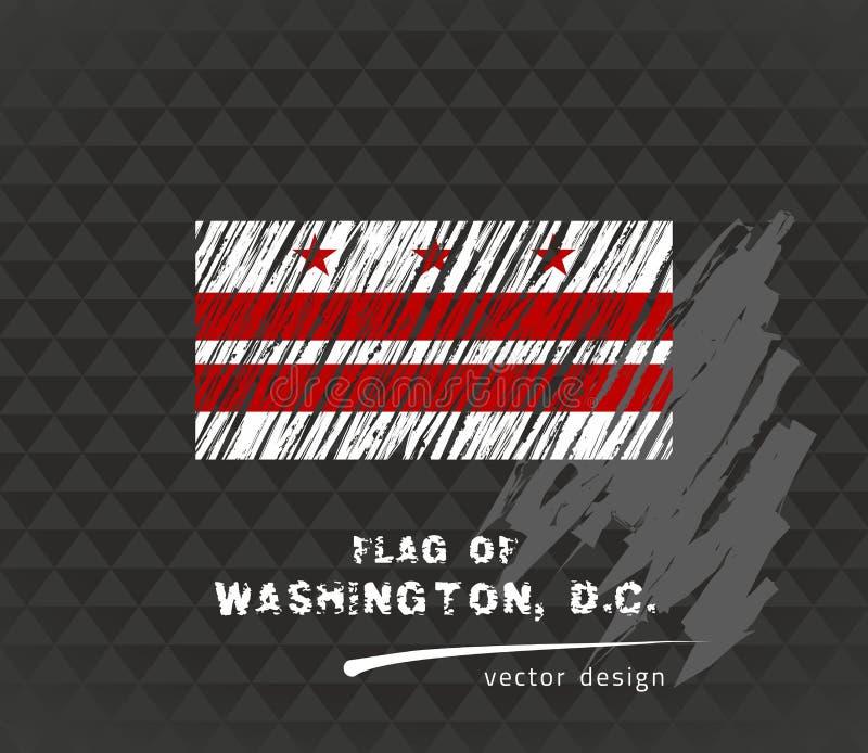 Vlag van District van Colombia, vectorpenillustratie op zwarte achtergrond stock illustratie