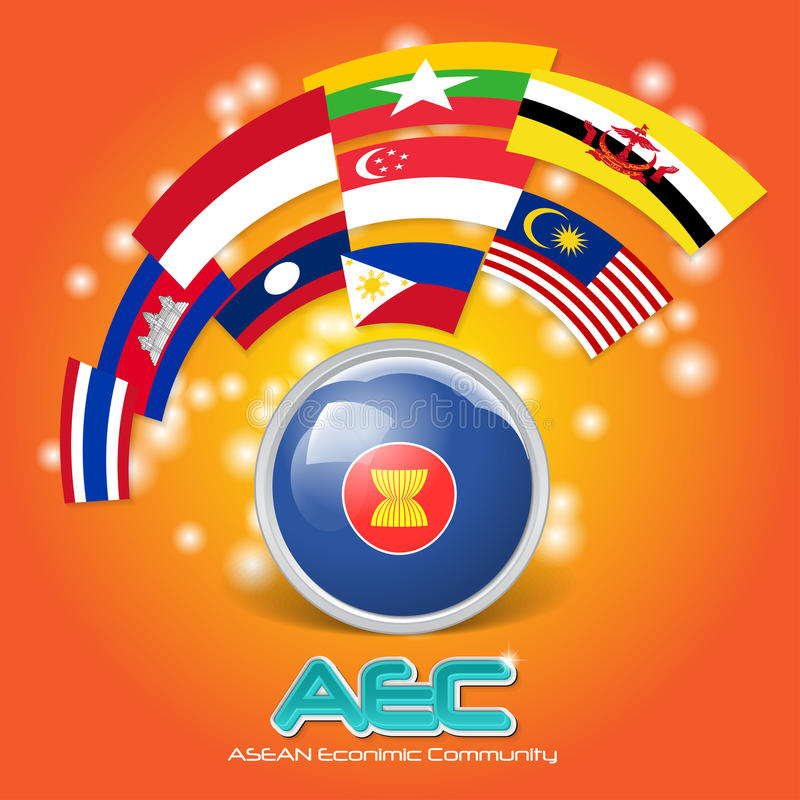 Vlag van Economische Communautaire AEC 03 van ASEAN stock illustratie