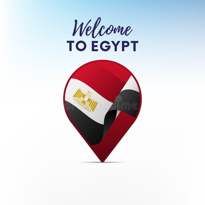 Vlag van Egypte in vorm van kaartwijzer of teller Onthaal aan Egypte Vector illustratie royalty-vrije illustratie