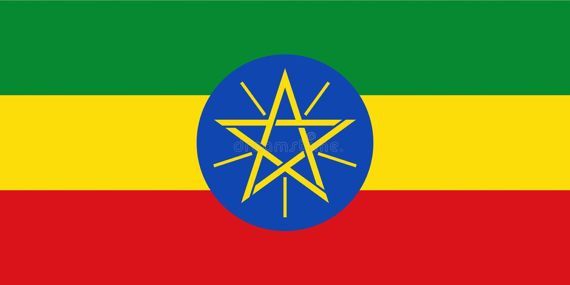Vlag van Ethiopië stock illustratie