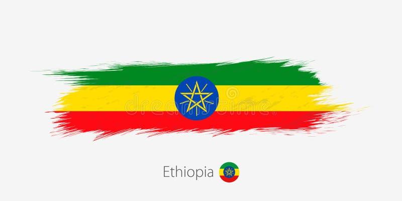 Vlag van Ethiopië, grunge abstracte kwaststreek op grijze achtergrond stock illustratie