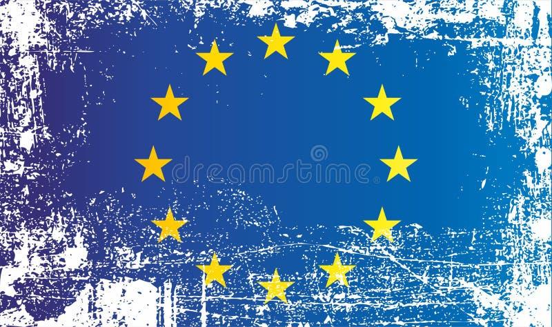 Vlag van Europa, Europese Unie Gerimpelde vuile vlekken royalty-vrije illustratie
