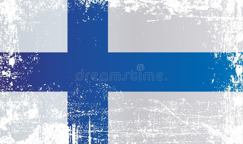 Vlag van Finland Gerimpelde vuile vlekken vector illustratie