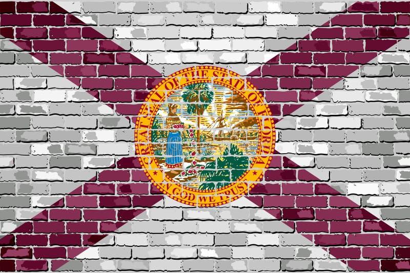 Vlag van Florida op een bakstenen muur stock illustratie