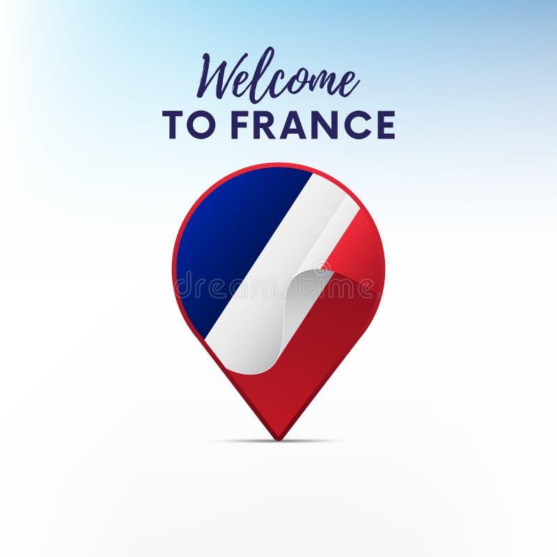 Vlag van Frankrijk in vorm van kaartwijzer of teller Onthaal aan Frankrijk Vector stock illustratie