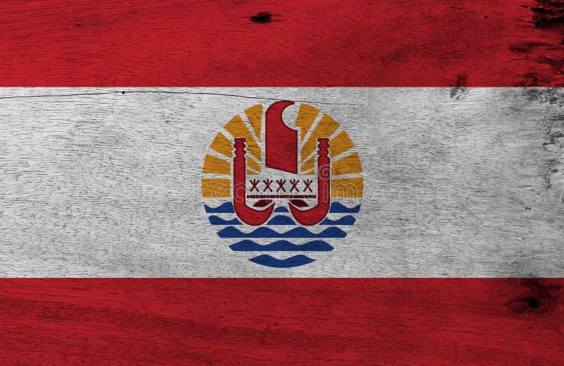 Vlag van Franse Polynesia op houten plaatachtergrond Grunge Franse Polynesia vlagtextuur royalty-vrije illustratie