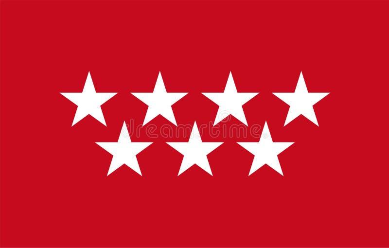 Vlag van Gemeenschap van Madrid stock illustratie