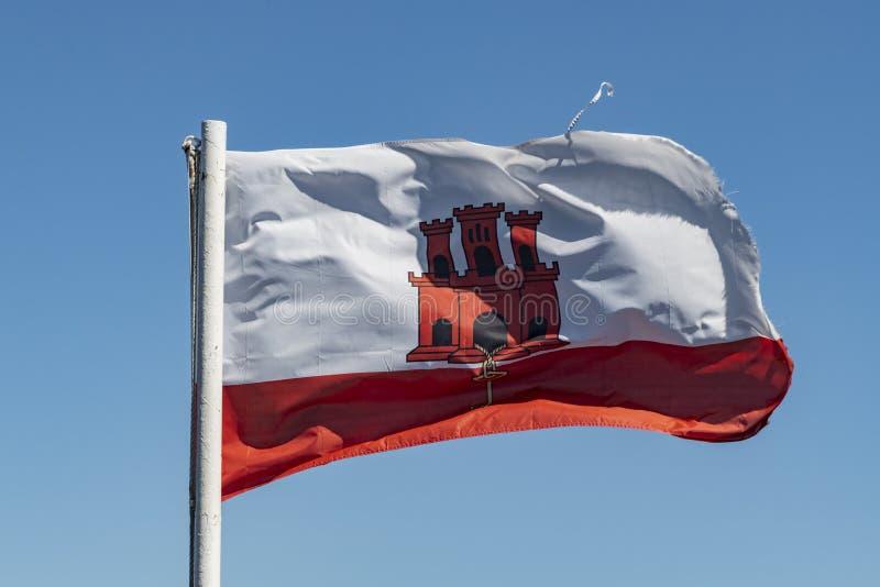 Vlag van Gibraltar stock afbeeldingen