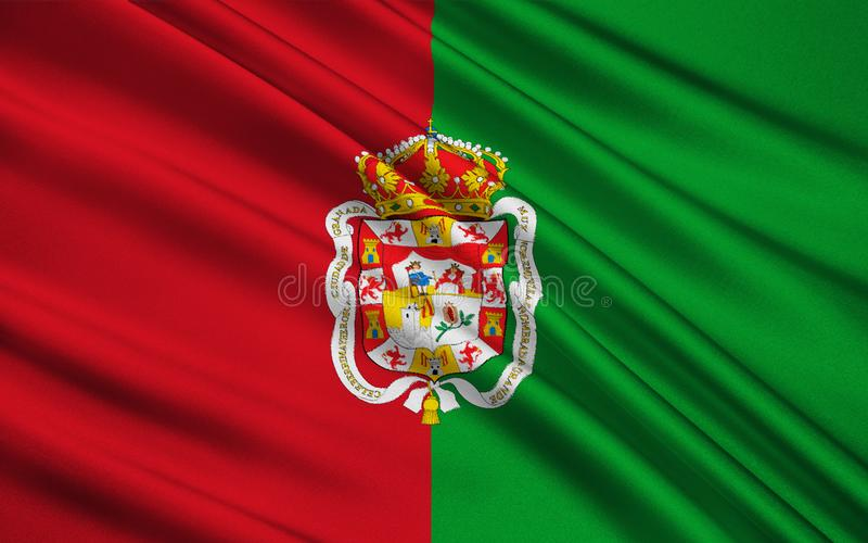 Vlag van Granada - stad en gemeente in Spanje royalty-vrije illustratie