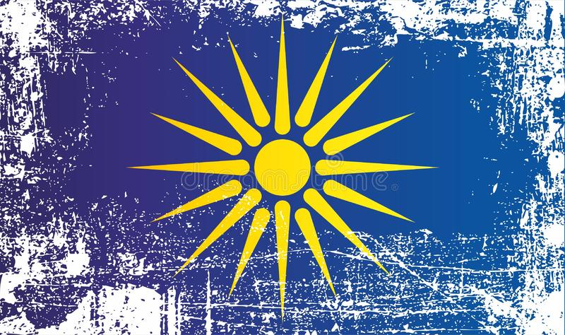Vlag van Grieks Macedonië, Westelijk Macedonië, Administratieve regio van Griekenland Gerimpelde vuile vlekken stock illustratie
