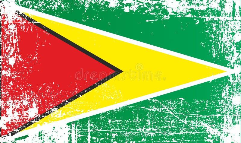 Vlag van Guyana, Behulpzame Republiek Guyana, Afrika Gerimpelde vuile vlekken royalty-vrije illustratie