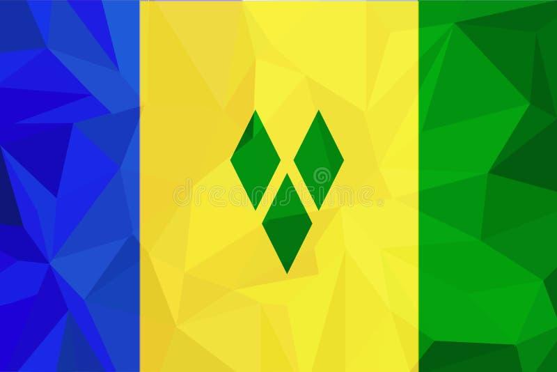 Vlag van Heilige Vincent en de Grenadines Vector Nauwkeurige afmetingen, elementenaandelen en kleuren royalty-vrije illustratie