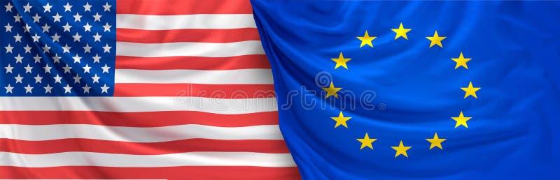 Vlag van het 3d teruggeven van de Verenigde Staten van Amerika en van Europa royalty-vrije illustratie