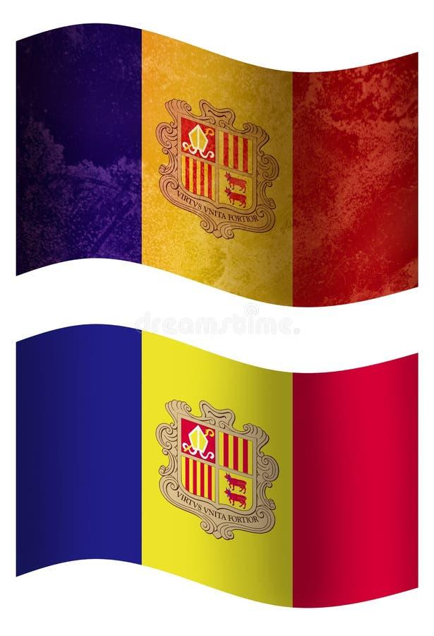 Vlag van het land van Andorra 3D, twee stijlen royalty-vrije illustratie