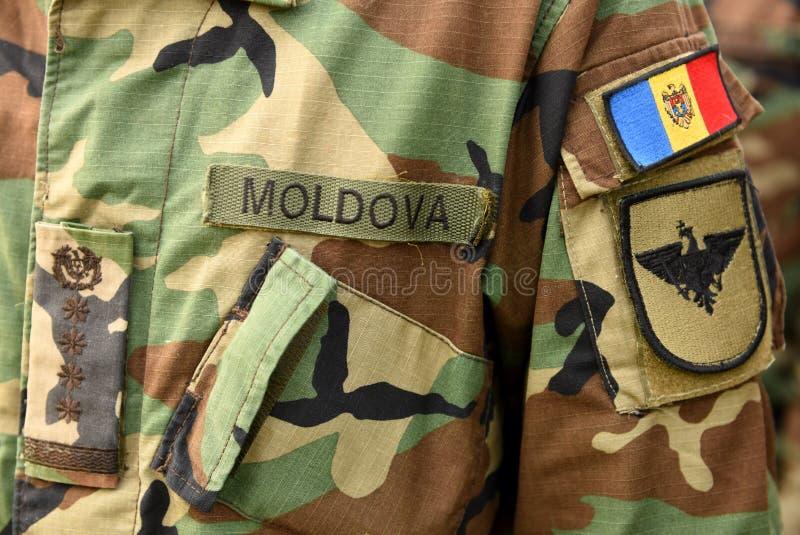 Vlag van het het leger de eenvormige flard van Moldavië Het Leger van Moldavië stock foto's