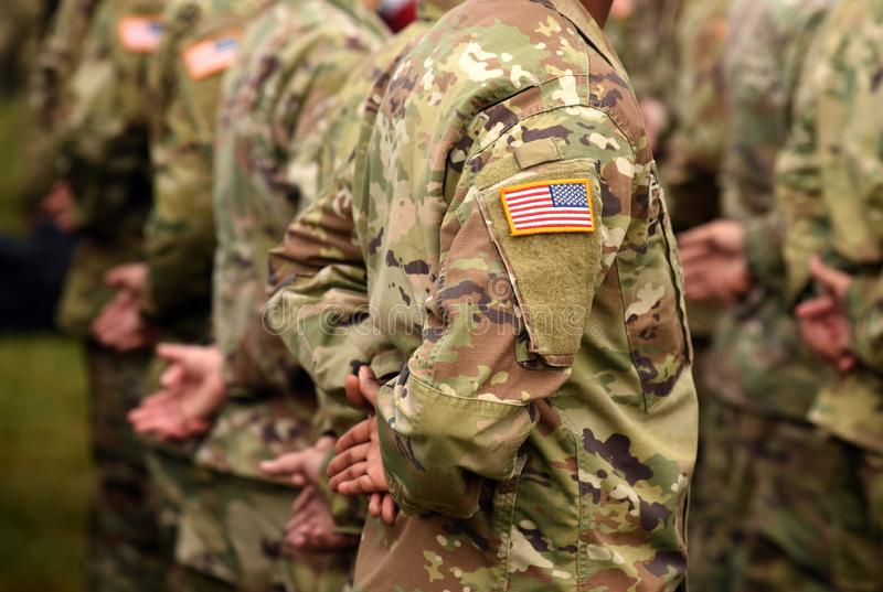 Vlag van het het leger de eenvormige flard van de V.S. Ons leger stock foto's