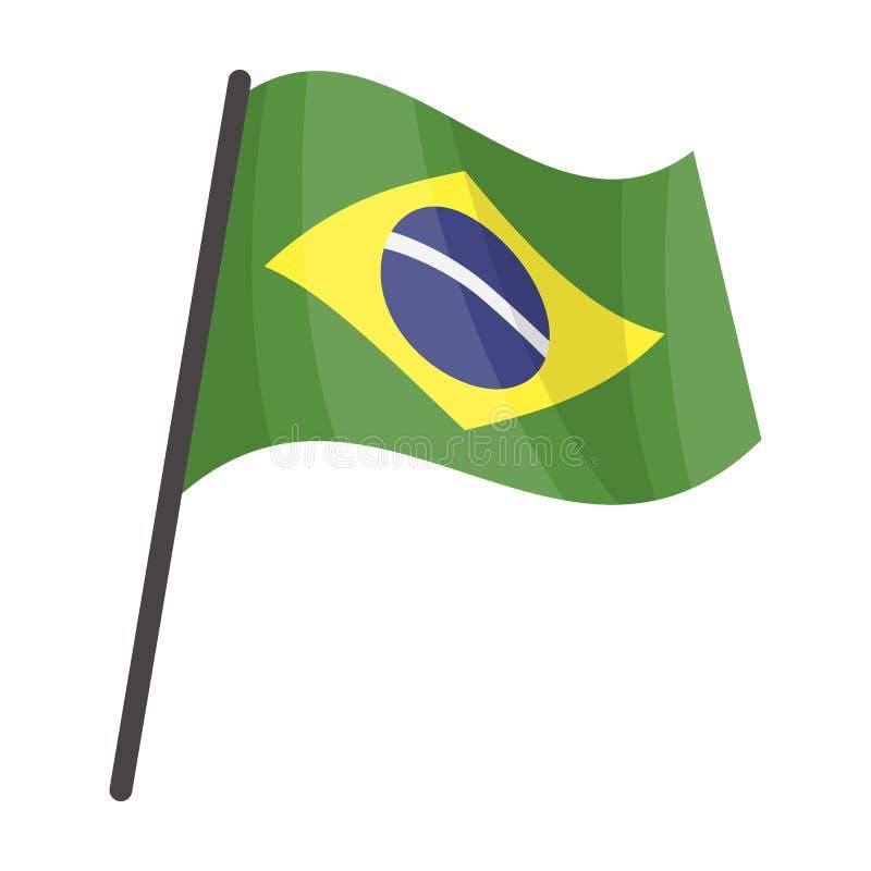Vlag van het pictogram van Brazilië in beeldverhaalstijl op witte achtergrond wordt geïsoleerd die Van de het symboolvoorraad van vector illustratie