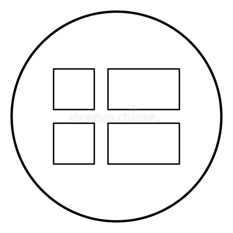 Vlag van van het het pictogramoverzicht van Denemarken zwarte de kleurenvector in cirkel om beeld van de illustratie het vlakke s stock illustratie