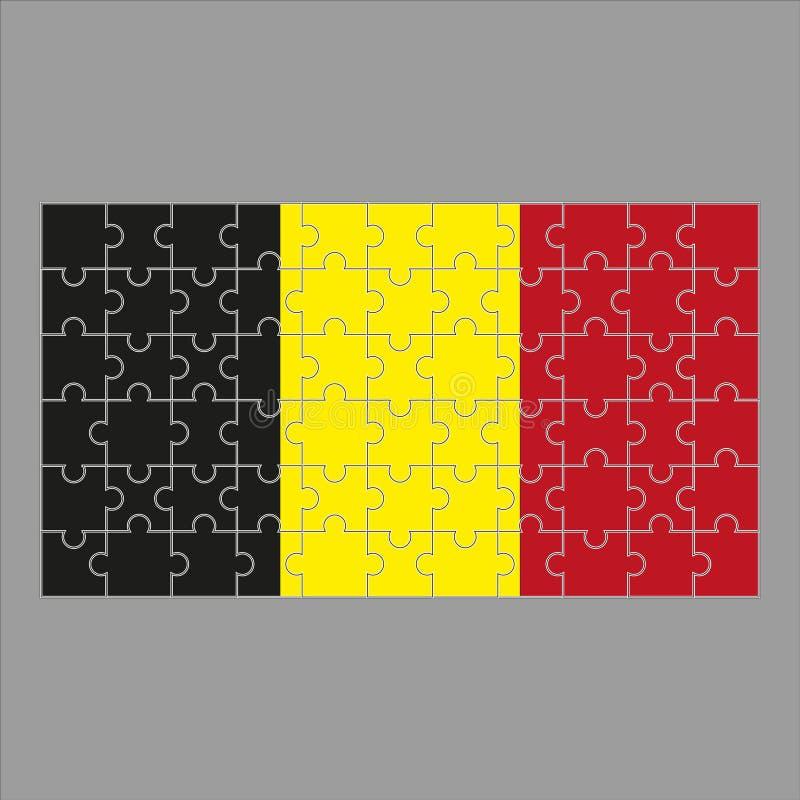 Vlag van het raadsel van Belgi? op grijze achtergrond royalty-vrije illustratie