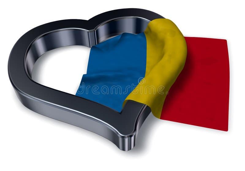 Vlag van het symbool van Roemenië en van het hart vector illustratie