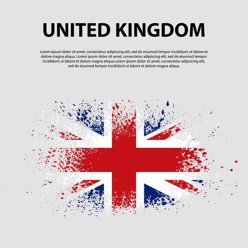 Vlag van het Verenigd Koninkrijk van Groot-Brittannië en Noord-Ierland, de achtergrond van de borstelslag Vlag van het Verenigd K royalty-vrije illustratie
